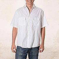 Men's cotton guayabera shirt, 'Salvadoran Freshness' - White Men's Cotton Guayabera Shirt with Chest Pockets