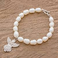 Cultured pearl charm bracelet, 'Angel's Joy' - Cultured Pearl Bead and Sterling Silver Angel Charm Bracelet