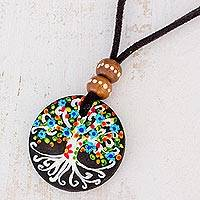 Wood pendant necklace, 'Magical Tree in Black' - Tree Motif Pinewood Pendant Necklace in Black from Guatemala