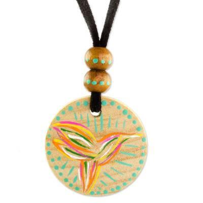 Bird-Themed Pinewood Pendant Necklace from Guatemala