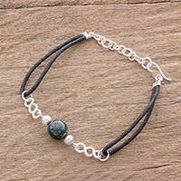 Jade pendant bracelet, 'Solo Journey in Dark Green' - Dark Green Jade and Sterling Silver Pendant Bracelet