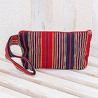 Cotton cosmetics bag, 'Festive Stripes' - Red and Navy Stripe Handwoven Cotton Cosmetics Bag