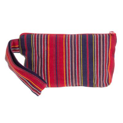 Red and Navy Stripe Handwoven Cotton Cosmetics Bag