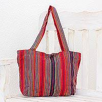 Cotton tote, 'Festive Stripes' (13 inch) - Red and Navy Stripe Handwoven Cotton Lined Tote (13 Inch)