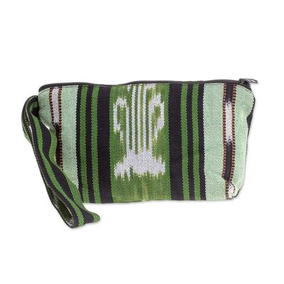 Green and Black Stripe Handwoven Cotton Cosmetics Bag