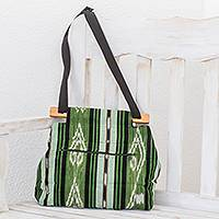 Cotton shoulder bag, 'Natural Fields' - Handwoven Cotton Sling in Green from El Salvador
