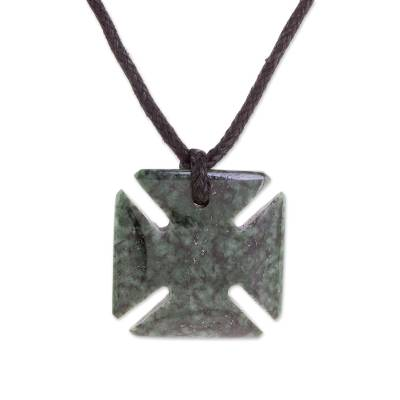 Jade pendant necklace, 'Dark Green Paté Cross' - Jade Cross Pendant in Dark Green from Guatemala