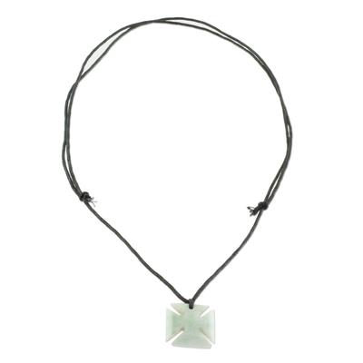 Jade Cross Pendant in Apple Green from Guatemala