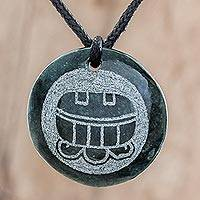 Jade pendant necklace, 'Aj Medallion' - Jade Pendant Necklace of Mayan Figure Aj from Guatemala