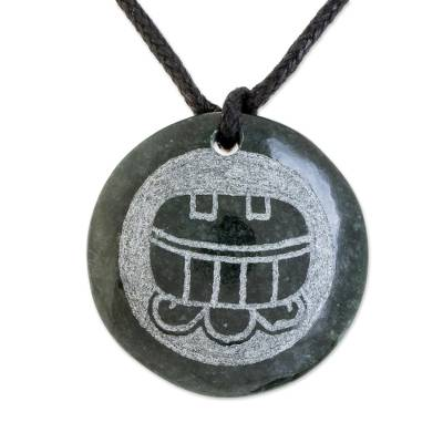 Jade Pendant Necklace of Mayan Figure Aj from Guatemala