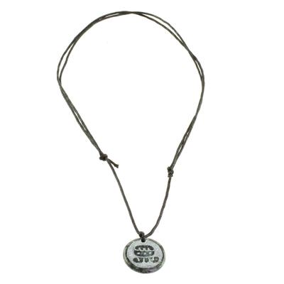 Jade pendant necklace, 'I'x Medallion' - Jade Pendant Necklace of Mayan Figure I'x from Guatemala