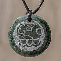 Jade pendant necklace, 'Tz'ikin Medallion' - Jade Pendant Necklace of Mayan Figure Tz'ikin from Guatemala
