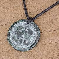 Jade pendant necklace, 'Ajmaq Medallion' - Jade Pendant Necklace of Mayan Figure Ajmaq from Guatemala