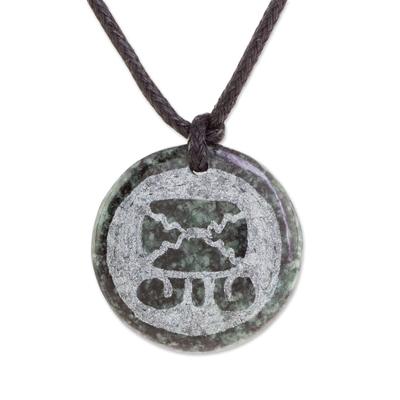 Jade Mayan Tijax Pendant Necklace from Guatemala