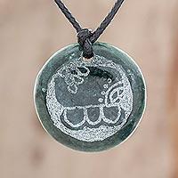 Jade pendant necklace, 'Kawoq Medallion'