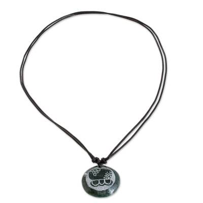 Jade pendant necklace, 'Kawoq Medallion' - Jade Pendant Necklace of Mayan Figure Kawoq from Guatemala
