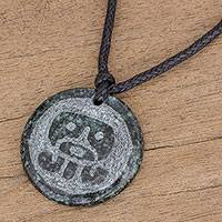 Jade pendant necklace, 'Ajpu Medallion' - Jade Pendant Necklace of Mayan Figure Ajpu from Guatemala