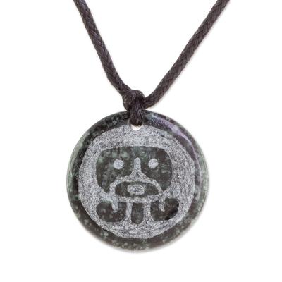 Jade pendant necklace, 'Ajpu Medallion' - Jade Pendant Necklace of Mayan Figure Ajpu from Guatemala