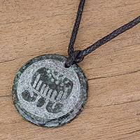 Jade pendant necklace, 'Imox Medallion' - Jade Pendant Necklace of Mayan Figure Imox from Guatemala