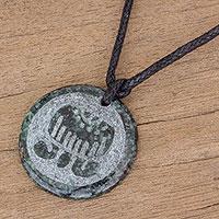 Jade pendant necklace, 'Imox Medallion' - Jade Pendant Necklace of Mayan Figure Imox from Guatemala