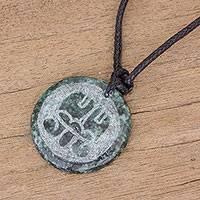 Jade pendant necklace, 'Aq'ab'al Medallion' - Jade Necklace of Mayan Figure Aq'ab'al from Guatemala