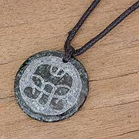 Jade pendant necklace, 'K'at Medallion' - Jade Pendant Necklace of Mayan Figure K'at from Guatemala