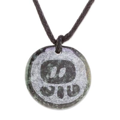 Jade Pendant Necklace of Mayan Figure Kan from Guatemala