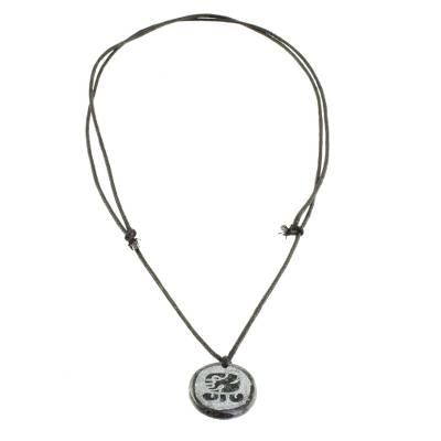 Jade pendant necklace, 'Keme Medallion' - Jade Pendant Necklace of Mayan Figure Keme from Guatemala