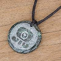 Jade pendant necklace, 'Toj Medallion' - Jade Pendant Necklace of Mayan Figure Toj from Guatemala