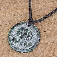 Jade pendant necklace, 'Tz'i Medallion' - Jade Pendant Necklace of Mayan Figure Tz'i from Guatemala