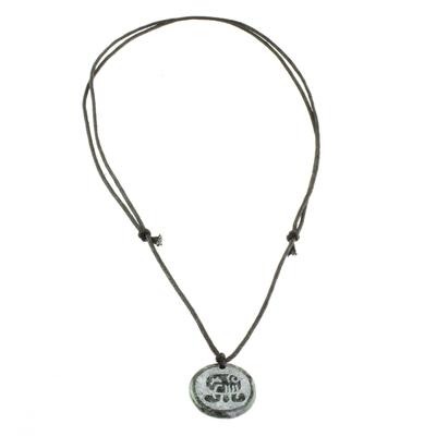 Jade Pendant Necklace of Mayan Figure Tz
