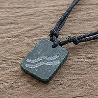 Jade pendant necklace, 'Verdant Aquarius' - Jade Zodiac Aquarius Pendant Necklace from Guatemala