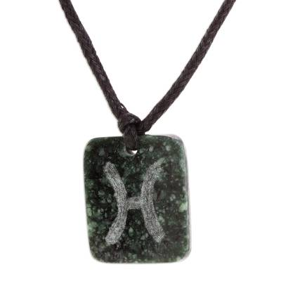 Jade pendant necklace, 'Verdant Pisces' - Jade Zodiac Pisces Pendant Necklace from Guatemala