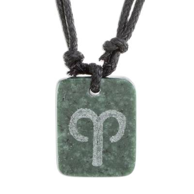 Natural Jade Aries Pendant Necklace from Guatemala