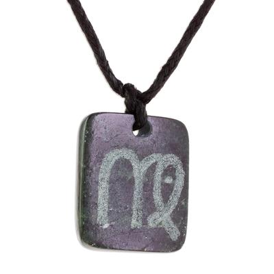 Jade pendant necklace, 'Verdant Virgo' - Jade Zodiac Virgo Pendant Necklace from Guatemala