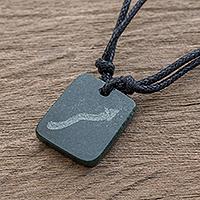 Jade pendant necklace, 'Verdant Scorpio'