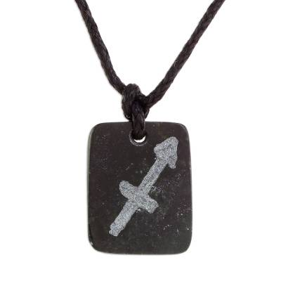 Jade pendant necklace, 'Verdant Sagittarius' - Jade Zodiac Sagittarius Pendant Necklace from Guatemala