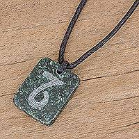 Jade pendant necklace, 'Verdant Capricorn'