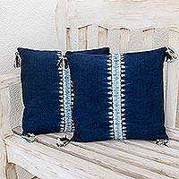 Tie-dyed cotton cushion covers, 'Above the Waves' (pair) - Striped Tie-Dyed Cotton Cushion Covers in Indigo (Pair)