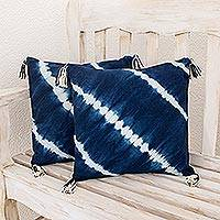 Tie-dyed cotton cushion covers, 'Along the Sea' (pair) - Tie-Dyed Cotton Cushion Covers in Indigo (Pair)