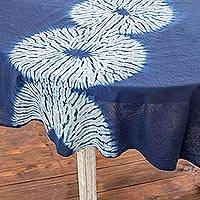 Tie-dyed cotton tablecloth, 'Indigo Lily Pads' - Circle Motif Tie-Dyed Cotton Tablecloth from Guatemala