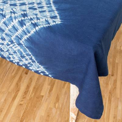 Tie-dyed cotton tablecloth, 'Ancestral Techniques' - Tie-Dyed Cotton Tablecloth from Guatemala