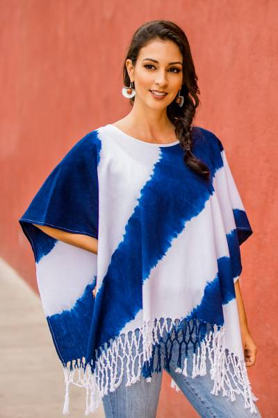 Cotton poncho, 'Daring Indigo' - Natural Indigo and White Stripe Shibori Dyed Cotton Poncho