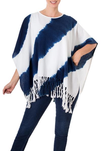 Natural Indigo and White Stripe Shibori Dyed Cotton Poncho