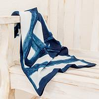 Tie-dyed cotton throw, 'Indigo Silhouettes' - Rectangle Motif Tie-Dyed Cotton Throw from Guatemala