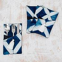 Tie-dyed cotton cutlery holders, 'Refracted Light' (set of 4) - Tie-Dyed Cotton Cutlery Holders from Guatemala (Set of 4)