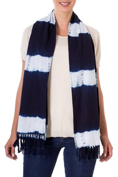 Tie-dyed cotton scarf, Cloud Streaked Night