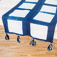 Tie-dyed cotton table runner, 'Indigo Symmetry' - Square Motif Tie-Dyed Cotton Table Runner from El Salvador