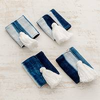 Tie-dyed cotton napkin rings, 'Abstract Indigo' (set of 4) - Tie-Dyed Cotton Napkin Rings in Indigo (Set of 4)