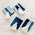 Tie-dyed cotton napkin rings, 'Abstract Indigo' (set of 4) - Tie-Dyed Cotton Napkin Rings in Indigo (Set of 4) (image 2b) thumbail